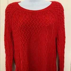 Red Sparkle Cable Knit Sweater
